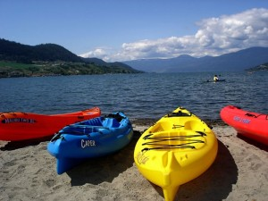 Paddling in Okanagan Lake around Adventure Bay